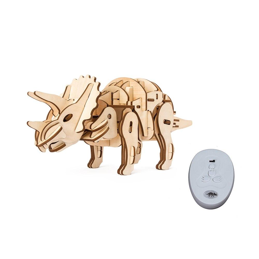 En bois Mécanique Modèle Électrique Puzzle Dinosaure Marche Triceratops Télécommande BRICOLAGE Jouets Pour Enfants Croix-frontière Fournir