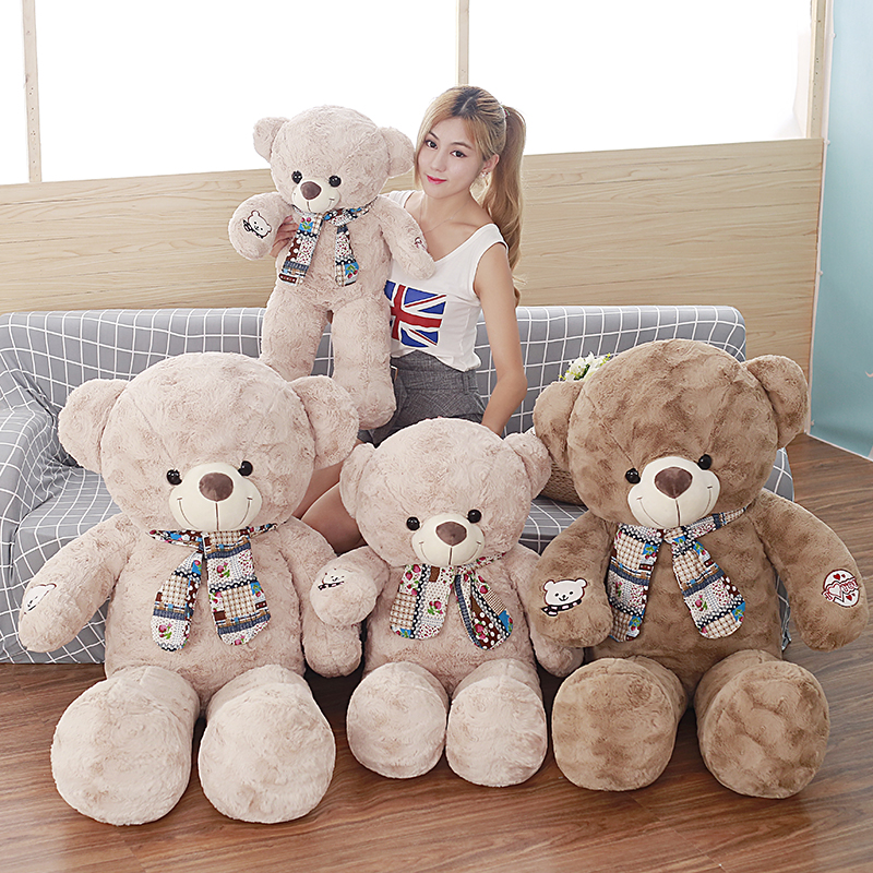 75cm Teddy Bear With Scarf Plush Stuffed Baby Gift Girls Toys Wedding And Birthday Party Decoration fancytrader biggest in the world pluch bear toys real jumbo 134 340cm huge giant plush stuffed bear 2 sizes ft90451