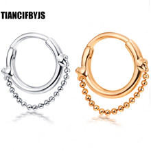 TianciFBYJS Nose Septum Clicker Lip Nipple Ear Piercing Cuff Ring Cartilage CZ Gems Body Jewelry Tragus Helix Hoop Rings(China)