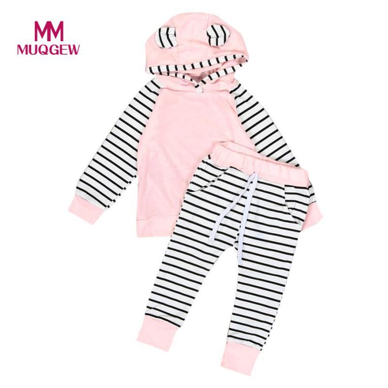MUQGEW Hot sale 2pcs Newborn Infant Baby Boy Girls Clothes Hooded T-shirt Tops Pants Baby Girl Clothes vetement enfant