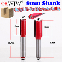 цена на 1pc 8mm Shank High Quality Straight Bit - Two Flute Centre Cutting  Router Bit 3/8