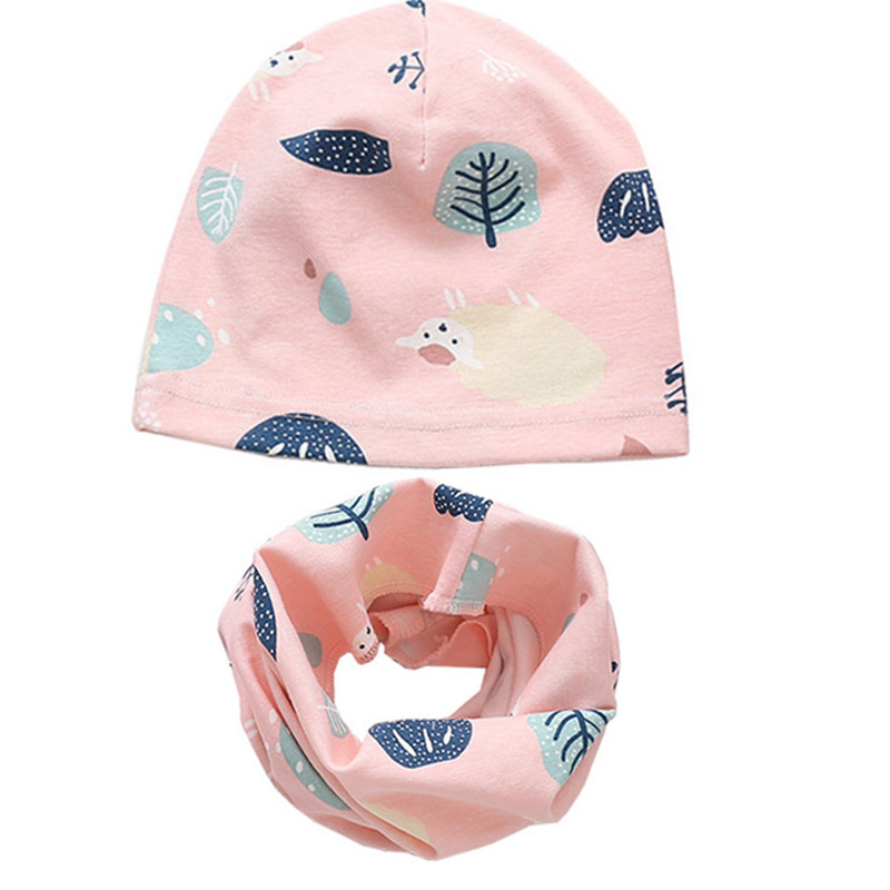 New Autumn Winter Baby Cotton Hat Set Boys Girls Neck Scarf Spring Warm Neckerchief Kids Beanies Sets Children Cartoon Hat Scarf