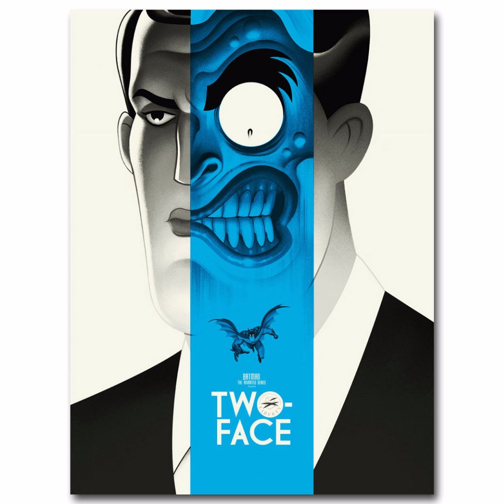J1100 Two Face Batman The Animated Series Superheroes Pop 14x21 Tribe Headphones 24x36 Inches Silk Art Poster Top Fabric Print Home Wall Decor In Painting Calligraphy From