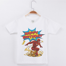 New Arrivals Happy Birthday Number T-Shirt Boy Cartoon The Flash Printing Cotton Short Sleeve Kids T Shirts Boys Party Tops