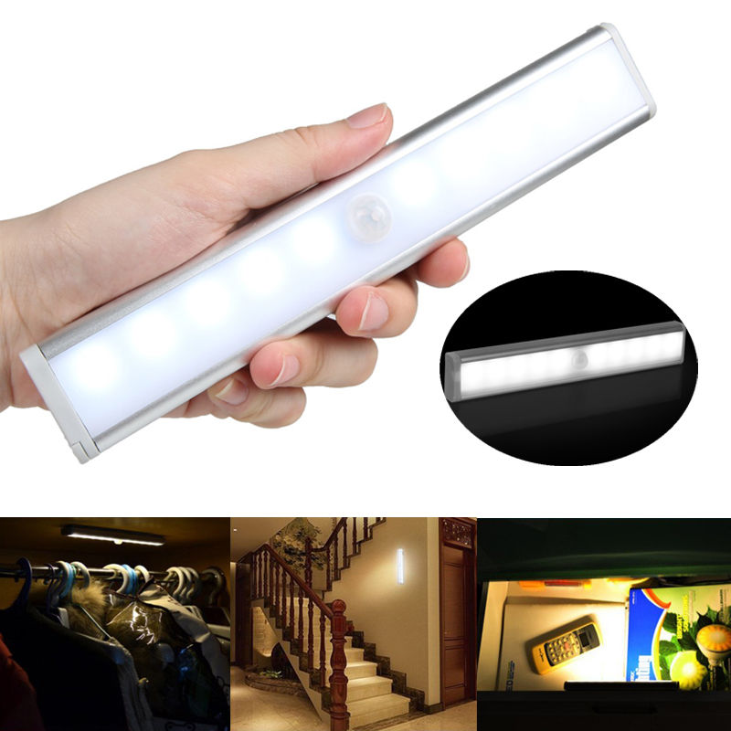 Battery/USB Rechargeable Wireless Motion Sensor Emergency Night Lights Warm/White 300lm 10 LEDs Bar Light With Magnetic Strip