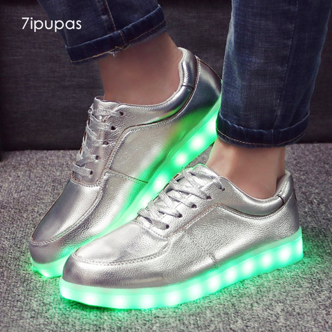 7 ipupas classico tenis prata fosco moda masculina light up glowing led luminoso miudo das