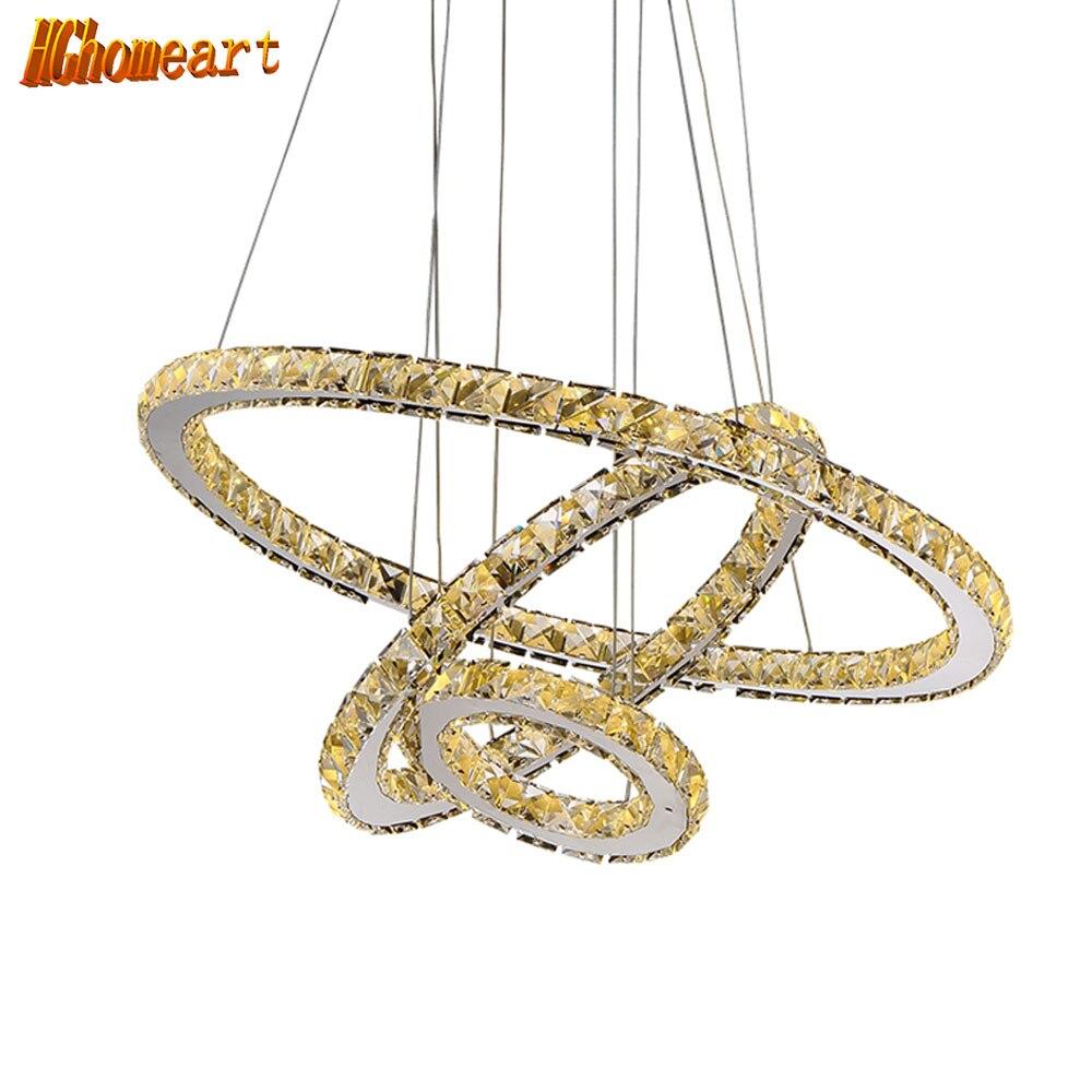 HGHomeart Modern LED Crystal Chandelier Lights Lamp For Living Room Cristal Lustre Lighting Pendant Hanging Ceiling Fixtures