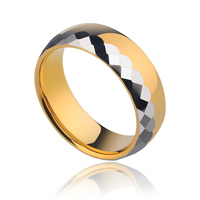 New Fashion Men's Tungsten Carbide Rings Plating 24k Gold Prism Design Comfort Fit Band Size 8/9/10 Free Shipping and Engraving