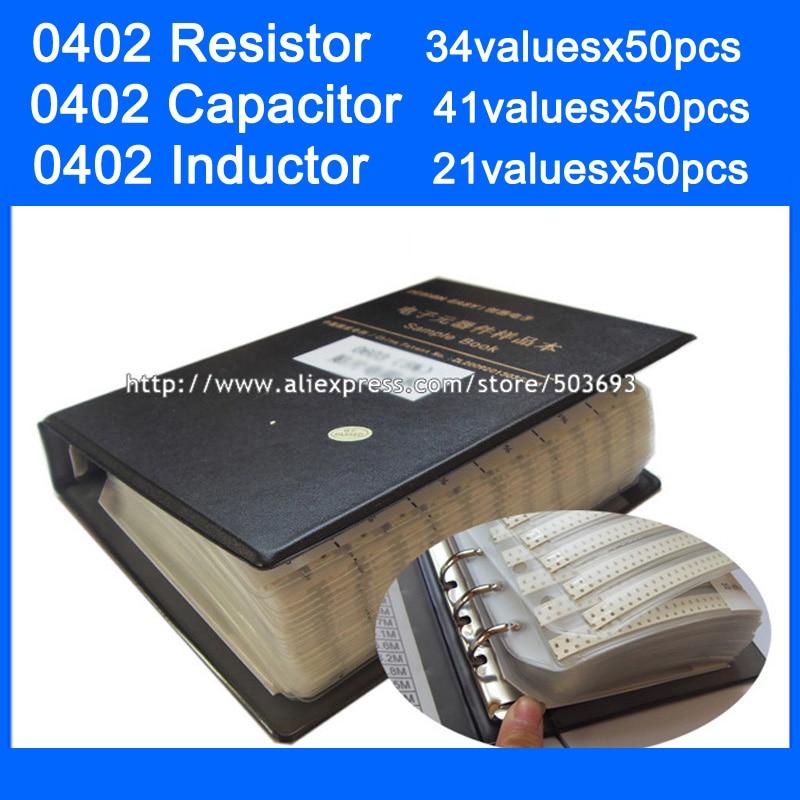 New 0402 SMD 1 Resistor 1 34valuesx50pcs 1700pcs Capacitor 41valuesX50pcs 2050pcs Inductor 21valuesx50pcs Sample Book