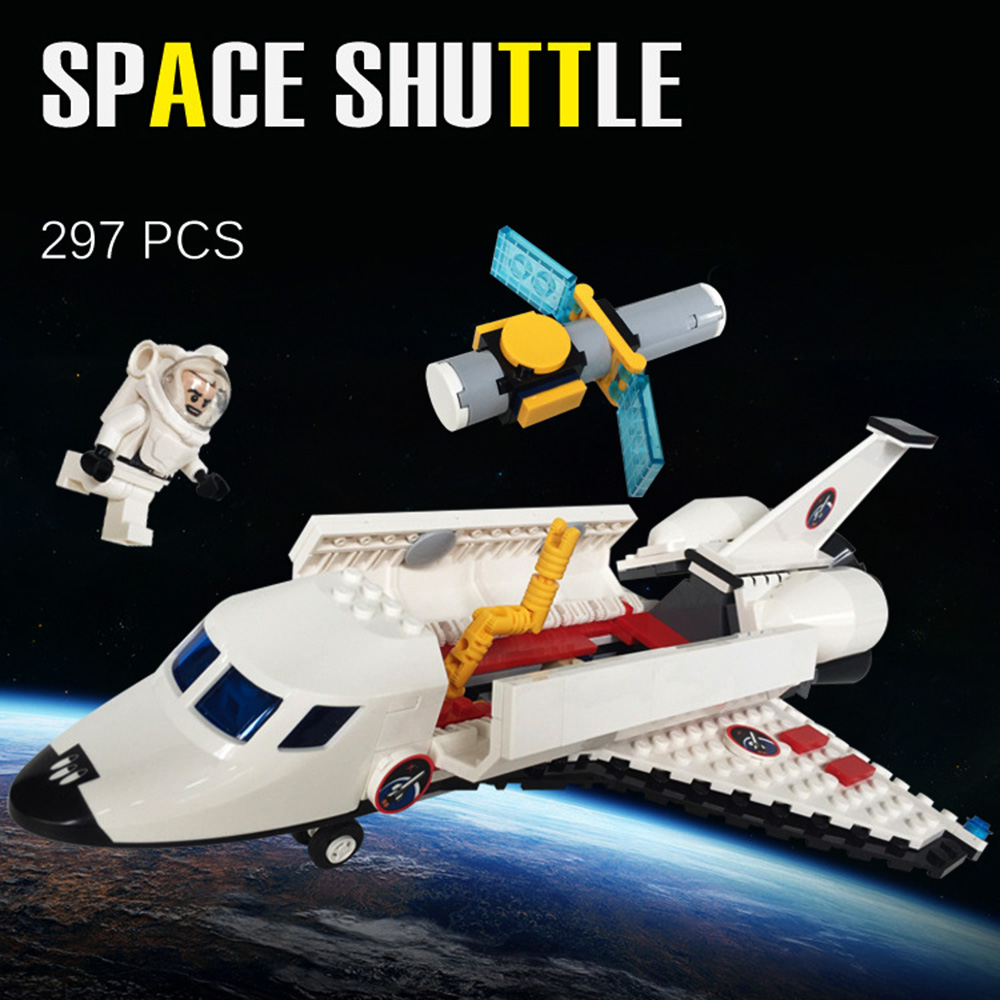 Building Blocks Space Shuttle Man-made Satellite Astronaut aircraft airplane playmobile MOC Bricks Toys for children Brinquedos