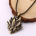 H&F anime jeweley Dragon Ball Z Sun Wukong Super saiyan head DBZ Alloy Pendant Cosplay rope Necklaces Dragon ball necklace