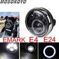 Светодиодная 7-дюймовая круглая фара для мотоцикла E-Mark E4 E24  ходовая фара для Harley Cafe Racer Chopper Softail Touring Cruiser