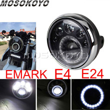 LED אור 7 אינץ אופנוע עגול פנס E מארק E4 E24 ריצה אור להארלי קפה רייסר ופר Softail סיור קרוזר