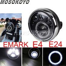 LED Licht 7 Inch Motorrad Runde Scheinwerfer E Mark E4 E24 Laufende Licht für Harley Cafe Racer Chopper Softail touring Cruiser