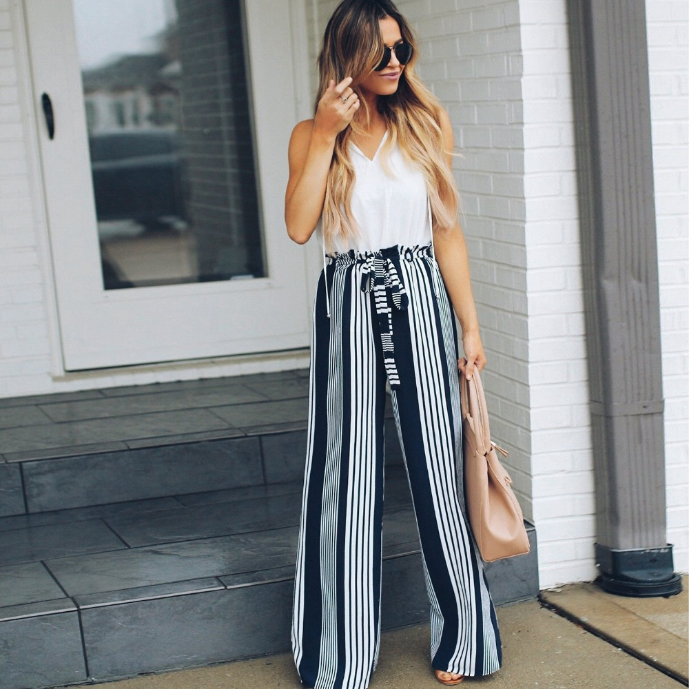 New striped split   wide     leg     pants   female low waist with ruffled high waist trousers summer beach casual   pants   female XL