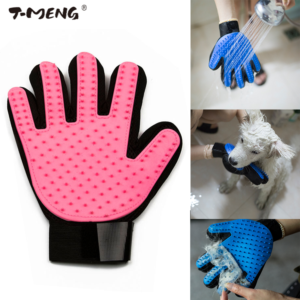 T MENG Pet Dog Brush Glove Cat Hair Comb Cleaning Brush Animal Massage Hair Removal Dog Grooming True Touch Bath Gloves Supplies