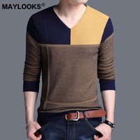Maylooks 2018 autumn new V neck color matching men's sweater Korean Slim men's sweater WS52