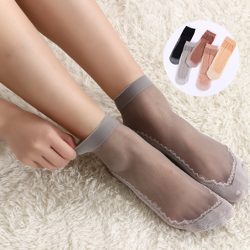 1 pair Women Thin Elastic Velvet Silky Short Silk Ankle   Socks   Pro Hot
