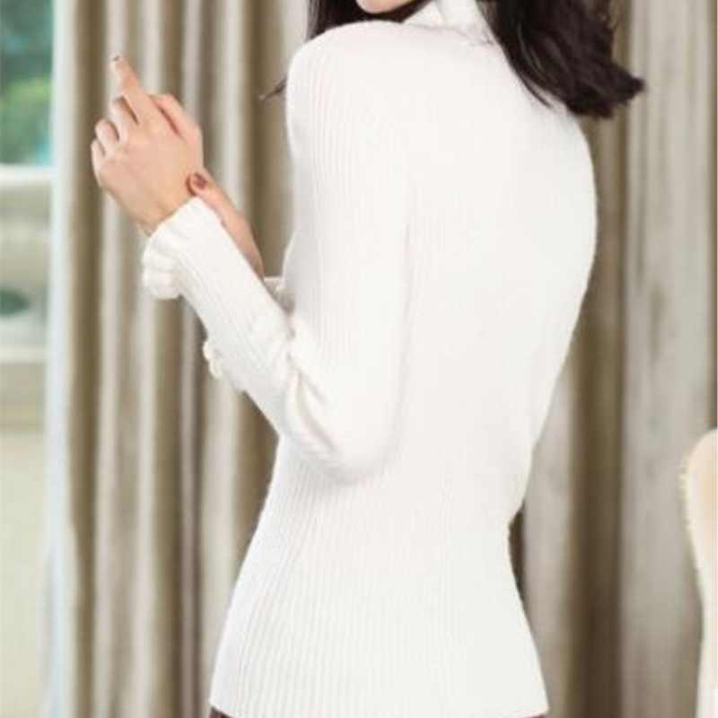 18 осенне-зимний новый женский полувысокий воротник кофта-бабочка плотный теплый пуловер свитер короткая вязаная одежда