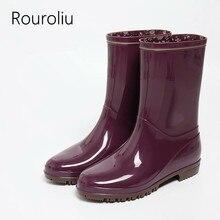 Rouroliu Women Light Comfortable Flat Heels Non-Slip Rainboots Waterproof Water Shoes Wellies Mid-Calf Rain Boots Woman RT313