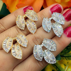 GODKI Elegant 3 Leaves Leaf Design Clear Cubic Zirconia Women Engagement Earrings Studs Jewelry Party Gift