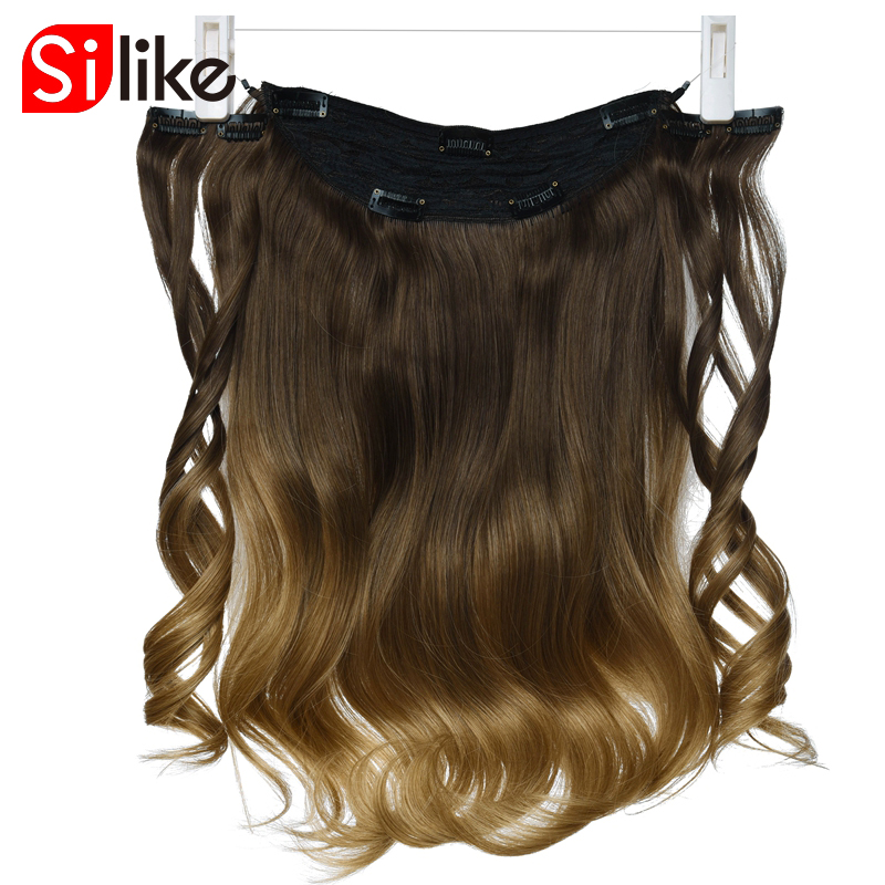 Silike Fish Line 9 Clips In Hair Synthetic Long Wave Extensions Half Full Head Secret Invisible Three Hairpieces For Women