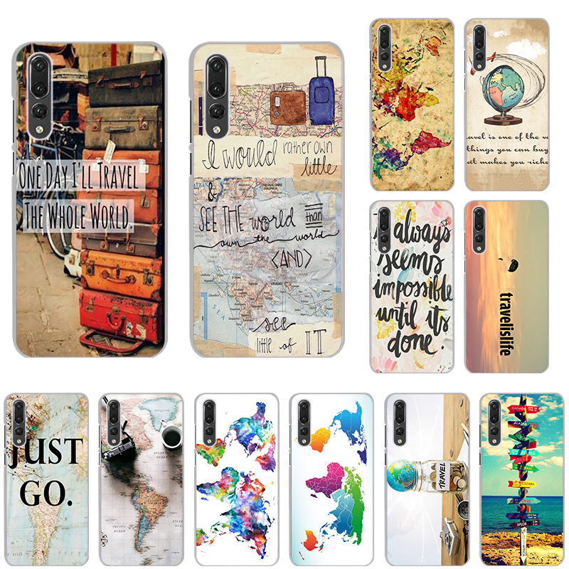 Travel the whole world map Hard PC Phone case for Huawei honor V20 10 V10 10Lite 8S V9 Play 9Lite 8X 20i 7 Note10 9i 6X 5 nova4e