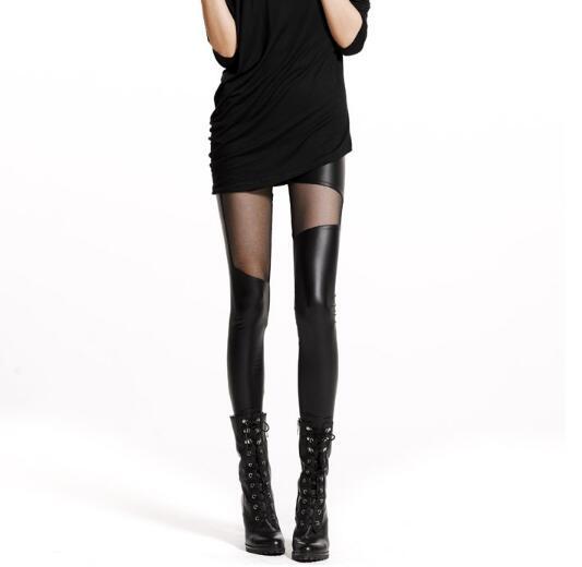 Legging Stitching Lace Punk Gothic Sexy Women Thin Black