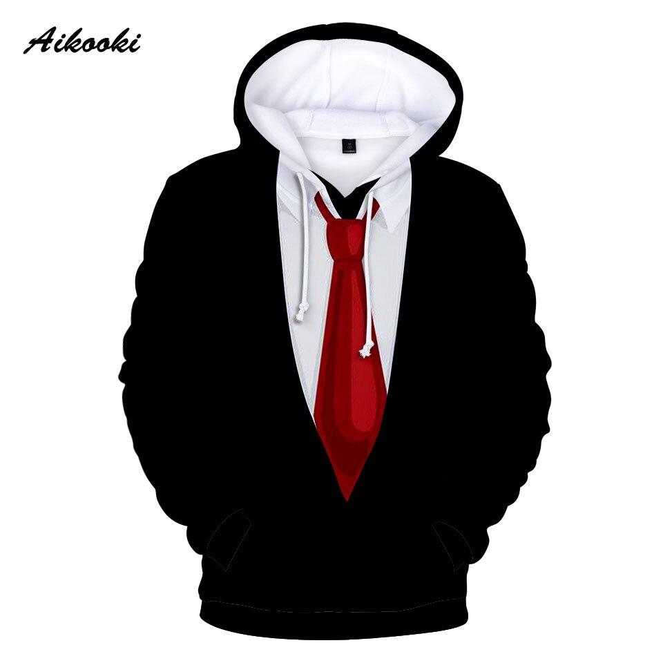 Aikooki Ten Kinds Design Funny Suit Tie 3d Hoodie Men/women Street Wear Suit Long Sleeves Fashion 3d Hoodies Sweatshirts Clothes