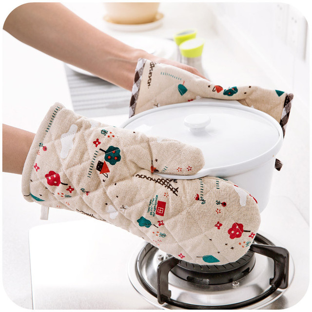 Bowl Pot Holder: Print Linen Oven Glove Placemat Set Insulated Microwave