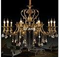 D100cm H65cm бронзовый цвет 10L Размер K9 хрустальная люстра освещение Европейский роскошный латунный кристалл лампа Lustre подвеска свет
