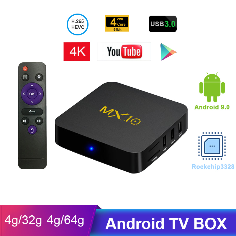 MX10 Android TV Box RK3328 4K TV Box Android 8 1 9 0 USB3 0 4GB