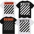 2017 de Alta Qualidade OFF WHITE T Shirts Homem Mulher de Algodão Da Listra VIRGIL ABLOHt Kanye West Hip Hop OFF Camiseta BRANCA de Manga Curta Tee