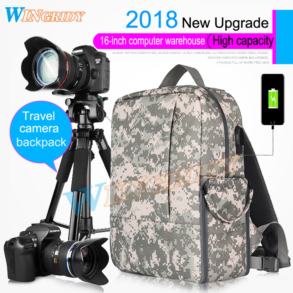 Camo CameraBag Photo Camera SLR DV Camera Waterproof Bag Travel Bag Shoulder Camera portable Case DSLR Photo Backpack Gray/Black