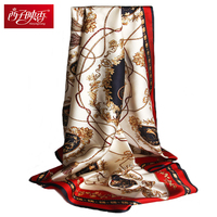 Headband Hijab Autumn Fall Winter 100 Pure Silk Scarves 90 90cm Square Scarves Luxury Brand Wraps