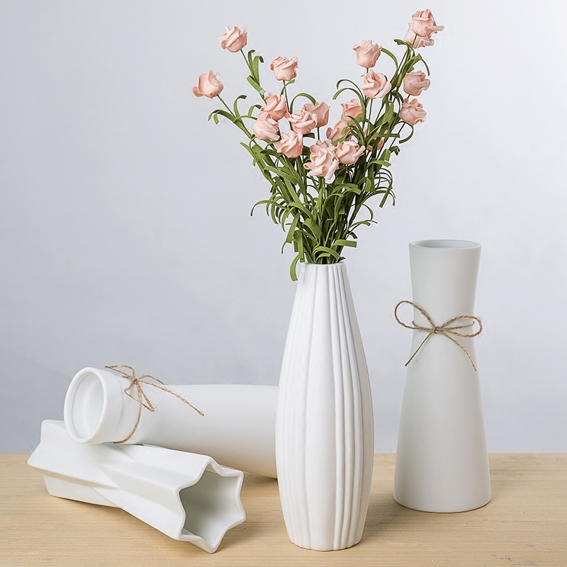 White Ceramic Vase Artificial Flowers Vase Crafts Decor Geometry Vase Rregular Flower Vase Gift Wedding Home Decoration Vases Aliexpress