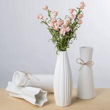 White Ceramic vase Artificial flowers Crafts Decor geometry rregular Flower Vase Gift wedding home Decoration