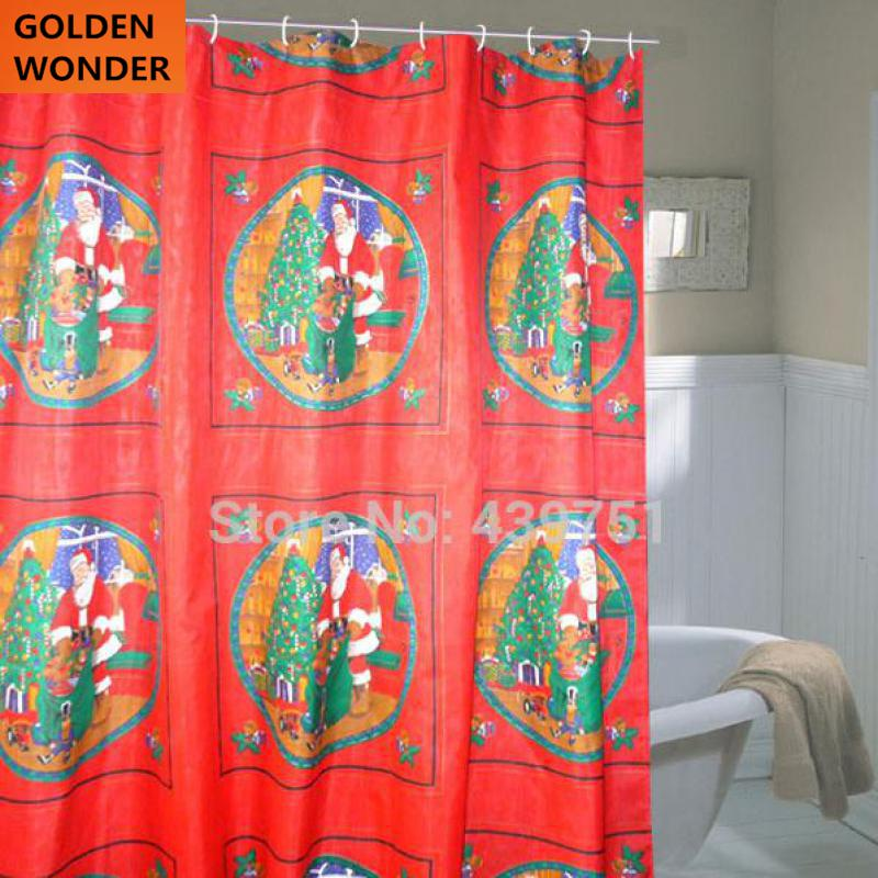 neue ankunft preiswerte weihnachten dusche vorhnge duschvorhang rot bad vorhang wasserdicht satin cortina bad stoffe in neue ankunft preiswerte weihnachten - Stoff Vorhang Dusche