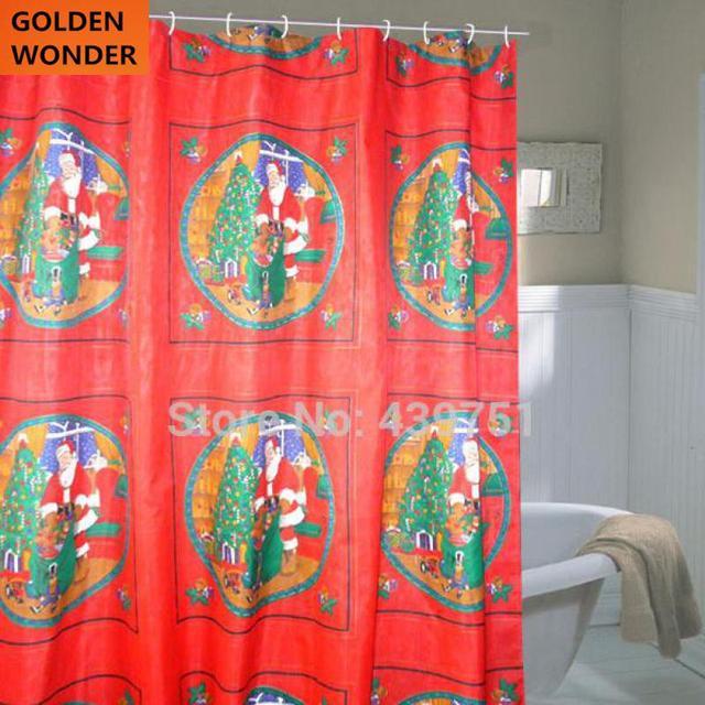 New Arrival Cheap Christmas Shower Curtains Curtain Red Bathroom Waterproof Satin Cortina Bath Fabrics