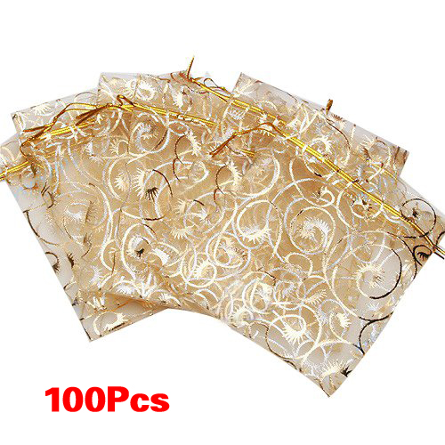 100pcs Champagne Eyelash Organza Drawstring Pouches Jewelry Party Wedding Favor Gift Bags 3.5