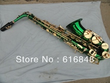 Wholesale Students essential –E flat alto saxophone green gold Saxophone High F # brass music instruments
