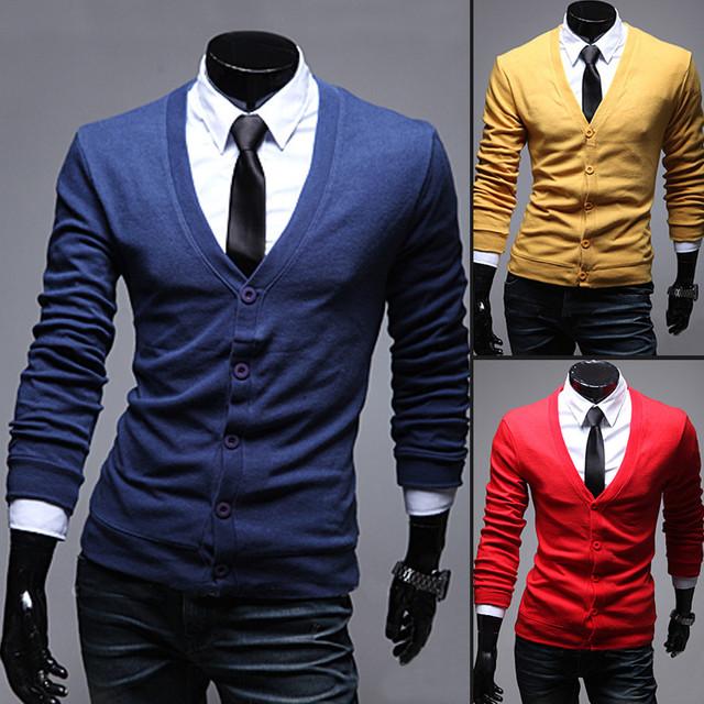 11 Colores 2016 Nueva Llegada de Fitness casual Hombres Suéter Con Cuello En V Botón de Manga Larga Soild Color de Punto Cardigan Hombres J283
