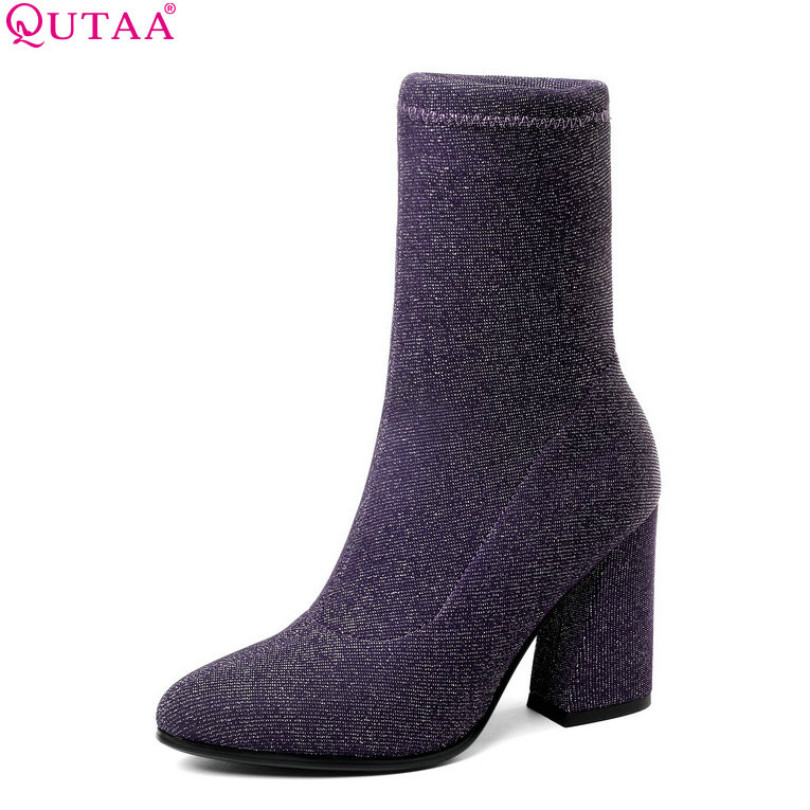 QUTAA 2019 Womens Shoes Mid Calf Boots Square High Heel Winter Sock Boots Pointed Toe Stretch Platform Women Boots Size 34-43 vamolasc new women autumn winter leather mid calf boots warm crystal square high heel boots platform women shoes plus size 34 43