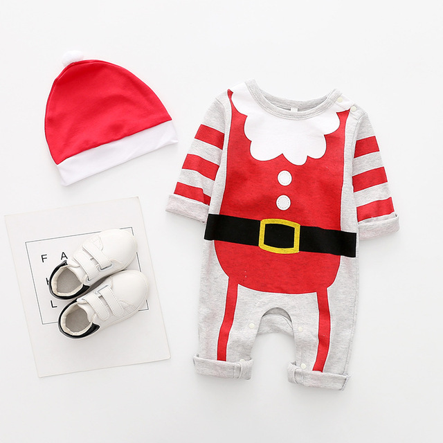 New arrival cotton baby rompers long sleeve autumn baby clothes baby boy's girl's Christmas costume deer Santa jumpsuits 4