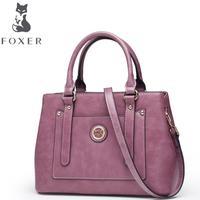 FOXER2018 High Quality Fashion Luxury Brand New Retro Wind Bag New Oil Wax Handbag Rivet Shoulder