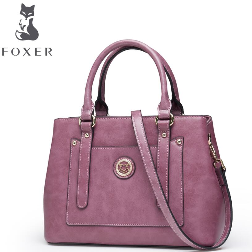 FOXER2018 high-quality fashion luxury brand new retro wind bag new oil wax handbag rivet shoulder ladies bag messenger bag