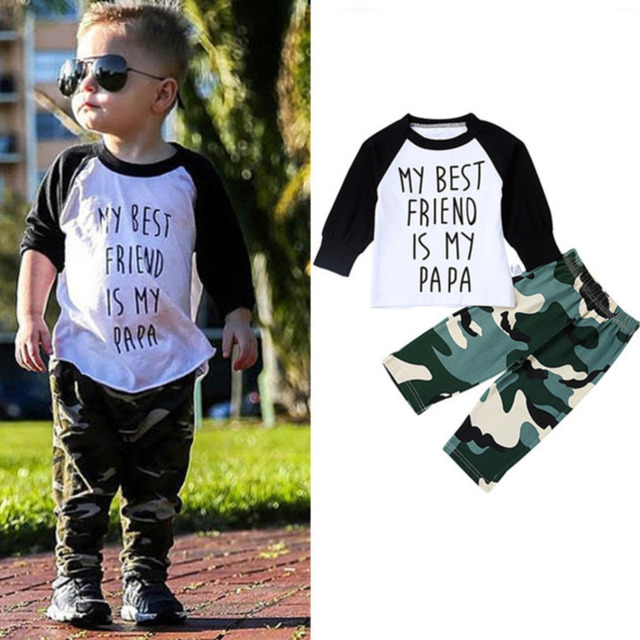 fa44ed7d1 2pcs Cotton Baby Boy Clothing Set Hot Sale Spring Newborn Baby Clothes  Roupas Bebe Kids Clothing Camouflage Pants Letter