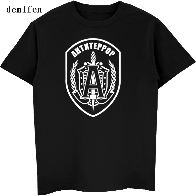 New Russian Special Force Alpha Group Anti Terror T-shirt Men's Casual O-neck T Shirt Summer Classic Male Fashion Cotton T-shirt