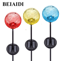 BEIAIDI 6pcs Crackle Glass Ball Solar Garden Stake Light 7 Color Changing Solar Landscape Pathway Lawn Lamp Spike Spotlight