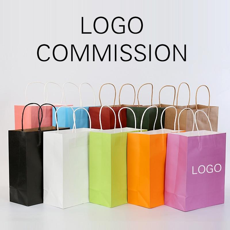 10pcs Paper bag custom gift clothing shopping bag custom kraft paper spot printing logo solid color Black Pink WHite Green
